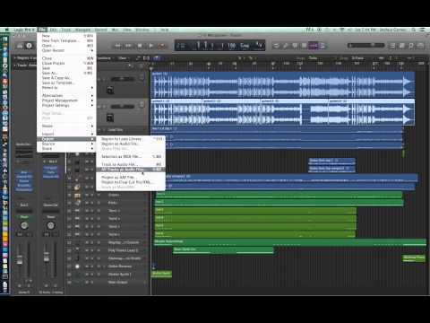 Logic Pro X - Video Tutorial 07 - Import Audio, Export Audio, Export All Tracks