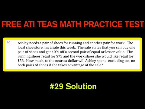 ATI TEAS MATH Number 29 Solution - FREE Math Practice Test - Another Percent and Money Word Problem