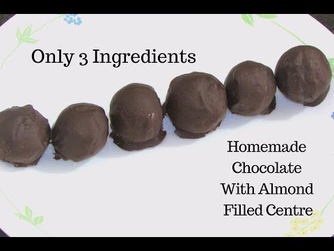 Homemade Chocolate Recipe - Almond filled Chocolates - How to make chocolate easily at home