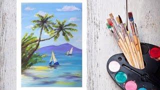 Видео урок Рисуем Пляж и Парусник Акрилом! #dari_art