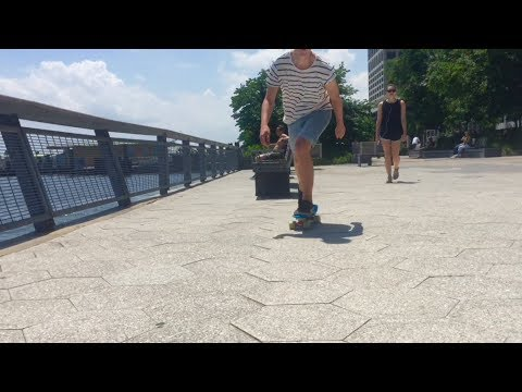 Penny board cruising NYC