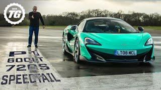 MCLAREN SHOWDOWN: P1 vs 720s, Speedtail vs F35, 600LT vs Ferrari Pista | Top Gear