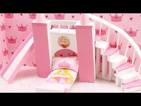 DIY Miniature Dollhouse - DISNEY PRINCESS AURORA SLEEPING BEAUTY CASTLE BED (Stairs and Slide)