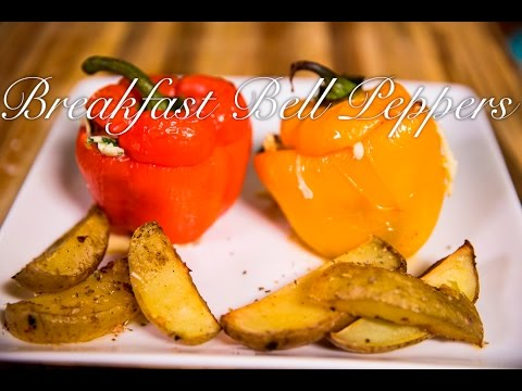 Roasted Bell Peppers Stuffed with Scrambled Eggs, Spinach & Cheese