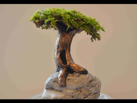 How To Sculpt A Tree On A Rock In Polymer Clay