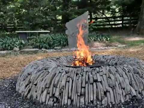 Dry Stone Fire Pit, Vertical stacked, PA Blue Stone