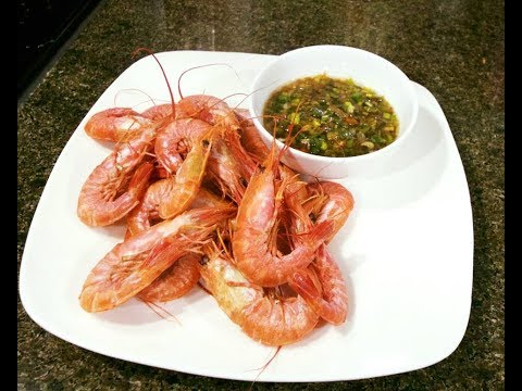 Boiled Shrimp with scallion dipping sauce