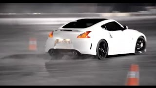 White Nissan 370z Drifting