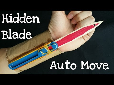How to make the Full Automatic Hidden Blade | Assassin's Creed | Cardboard & wooden sticks