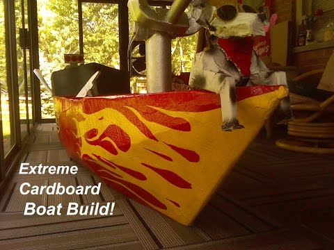 Extreme Cardboard Boat Build - How to Make a Cardboard Boat