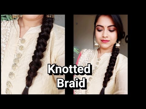 Knotted Braid//Easy Indian wedding guest Hairstyle// Party hairstyle for medium long hair