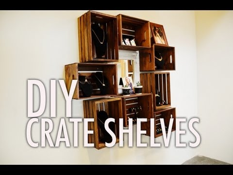 DIY Wood Crate Shelves