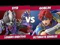 Smash Ultimate Tournament - Dyr (Wolf) Vs. Goblin (Roy) Ultimate Gamer SSBU Losers Eighths