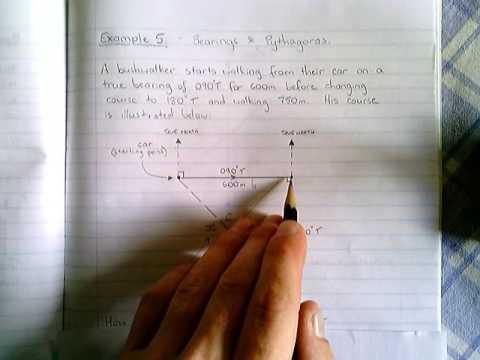 Pythagoras - Bearings (Example 5)