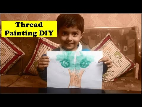 Thread Painting Tutorial by 3 years old | DIY painting with thread | Tutorial by Sparsh Hacks