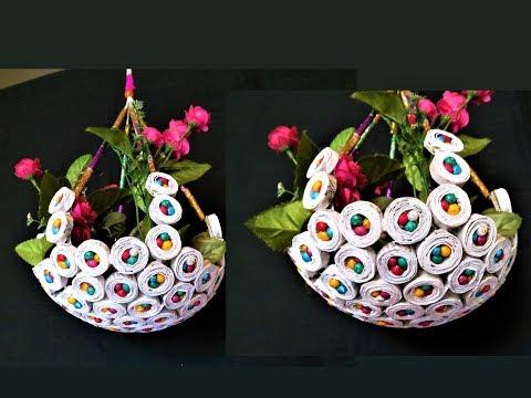 Newspaper - Hanging Flower Basket / DIY Newspaper Crafts / Best out of Waste