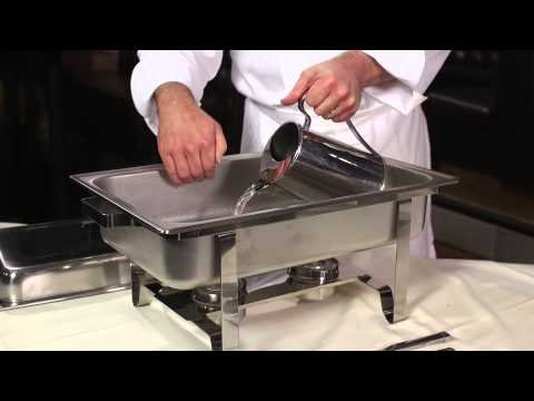 Setting Up a Chafing Dish for Buffet Service