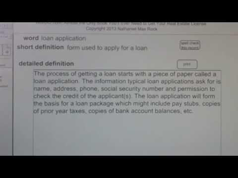 loan application CA Real Estate License Exam Top Pass Words VocabUBee.com