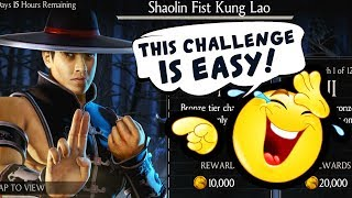 MKX Mobile. Shaolin Fist Kung Lao Challenge. FINALLY A NEW CHALLENGE!