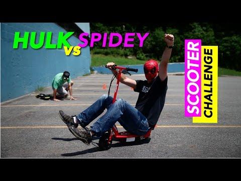 Hulk vs Spiderman Scooter Challenge