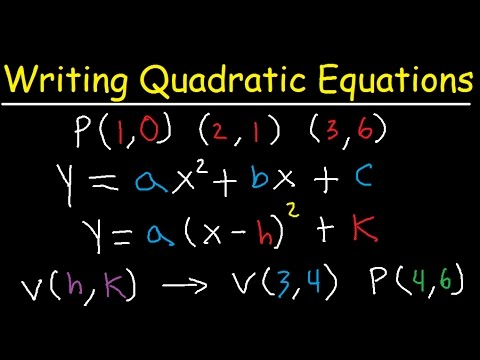 Writing Quadratic Equations & Functions In Vertex & Standard Form, 3 Points, Table, Graph, Roots