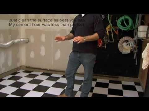 Installing Vinyl Floor Tile On Cement Garage Floor / Basement Floor