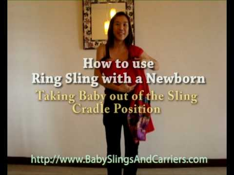 How to take a baby out of the baby ring sling from the Cradle Position