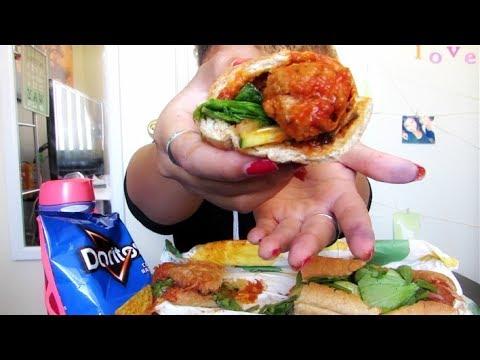 Meatball Sub and Doritos | Subway Mukbang