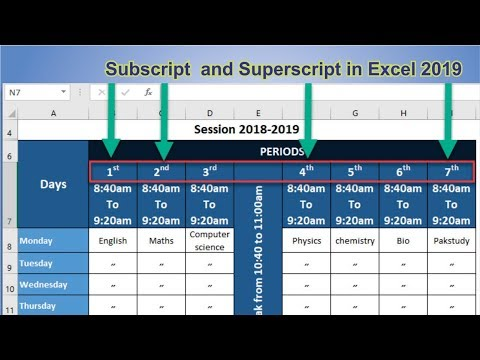 How to apply SubScript and Superscript in microsoft Excel 2019