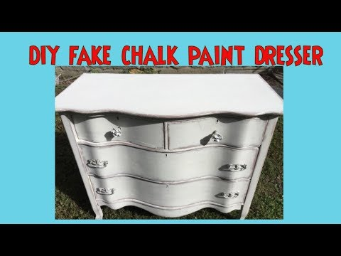Fake Chalk Paint Dresser- Get a Chalk Paint Look with Plain Latex Paint & Baby Oil