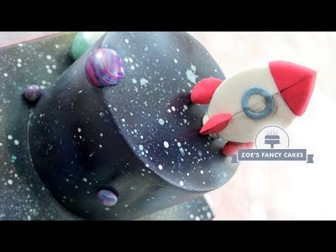 Galaxy Universe cake with rocket ship topper tutorial