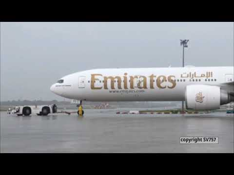 Emirates Boeing B777-300ER [A6 ECL] Pushback, Takeoff from Trivandrum Int'l Airport [HD]