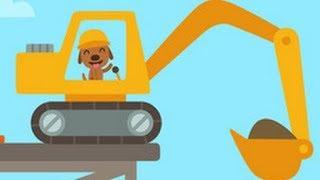 Digger Cartoons for Children - Backhoe, Excavator and Crane - Construction trucks for children Ep#1