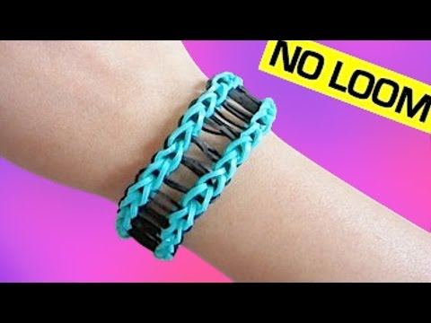 Railroad Rainbow Loom Bracelet without Loom/ using 2 Forks