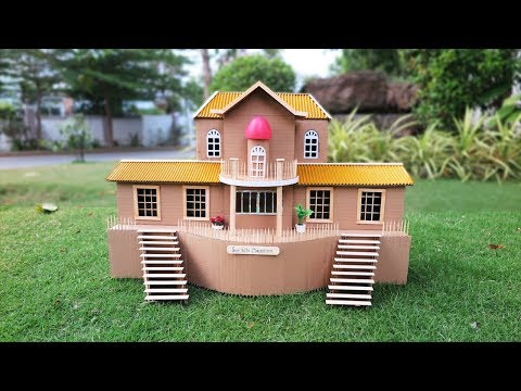 Amazing Cardboard Mansion House  -  DIY Popsicle Stick Crafts