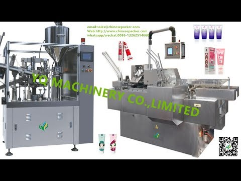 cosmetics tube filler sealer and small box cartoning machine bottle carton packaging equipment