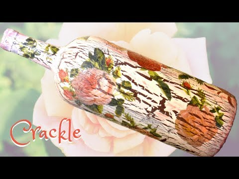 DIY Decoupage Roses/Crackle Wine Bottle Gift? (HD)
