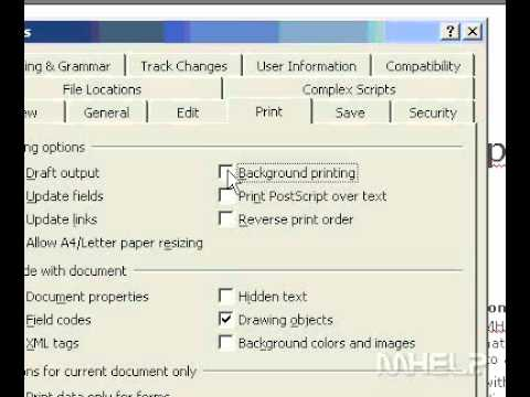 Microsoft Office Word 2003 Turn on or off background printing