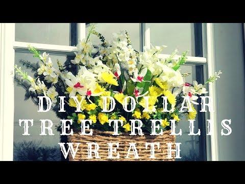 DIY DOLLAR TREE TRELLIS WREATH|BASKET WEAVE|SPRING WREATH