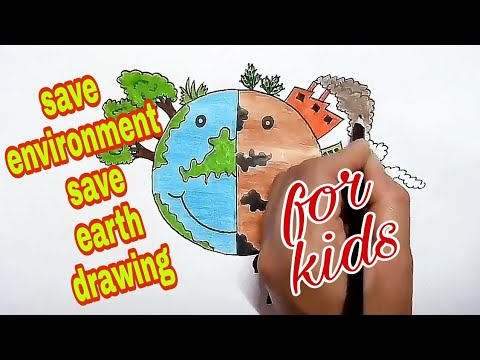 save environment save earth drawing for kids || how to draw stop global warming