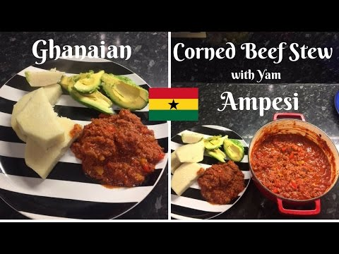 How to make Ghanaian Corned Beef Stew |with yam| | Ampesi | Rice |