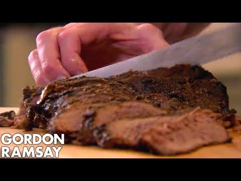 BBQ Brisket with Crunchy Coleslaw & Sweet Potato Wedges | Gordon Ramsay
