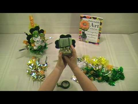 St. Patrick's Day Bear & Candle Candy Bouquet - How To Make Candy Bouquets - Delectable Art