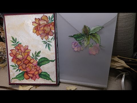 Dry Vellum Embossing, Tombo Watercolour Techniques, Vellum Envelope