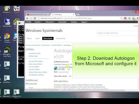 How to enable Auto Login logon windows 8 7 10