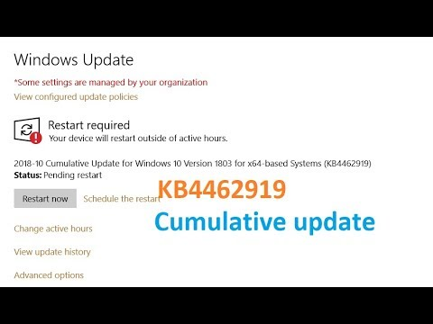 Cumulative Update for Windows 10 Version 1803 for x64 based Systems KB4462919