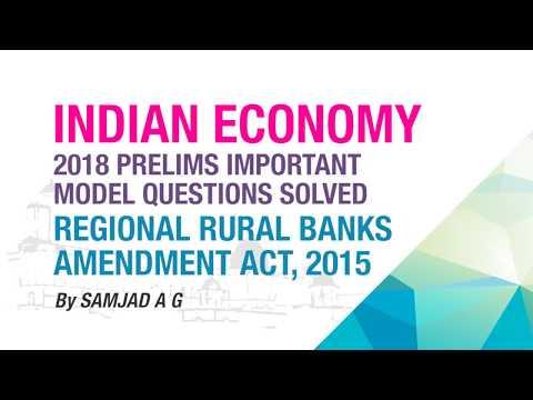 REGIONAL RURAL BANKS AMENDMENT ACT, 2015 | PRELIMS IMPORTANT MODEL QUESTION SOLVED | ECONOMY GURU