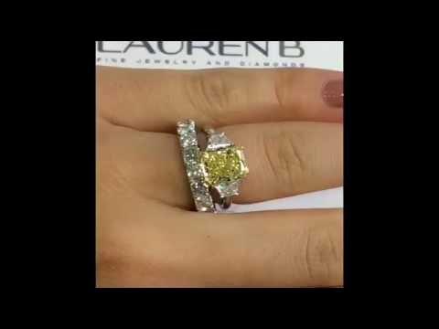 3.44 ct Radiant Cut Yellow Diamond Engagement Ring