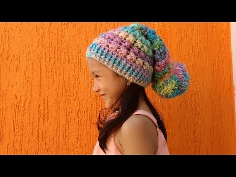 GORRO SLOWCHY A CROCHET PARA NIÑOS Y ADULTOS / SLOUCHY HAT  TO CROCHET FOR CHILDREN AND ADULTS /