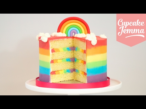 The Ultimate Rainbow Cake Recipe! | Cupcake Jemma